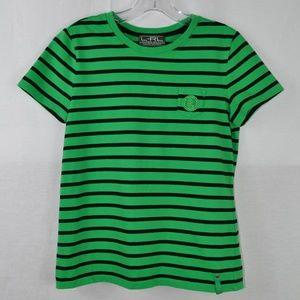 RALPH LAUREN Green Cotton Striped Tee Shirt Medium